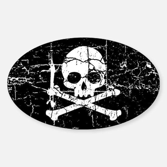 Crackled Skull And Crossbones Sticker (Oval)