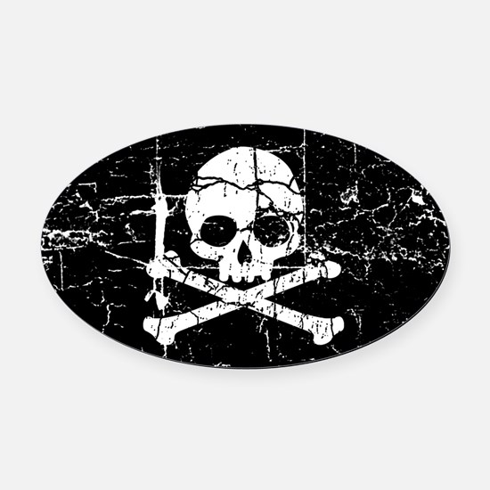 Crackled Skull And Crossbones Oval Car Magnet
