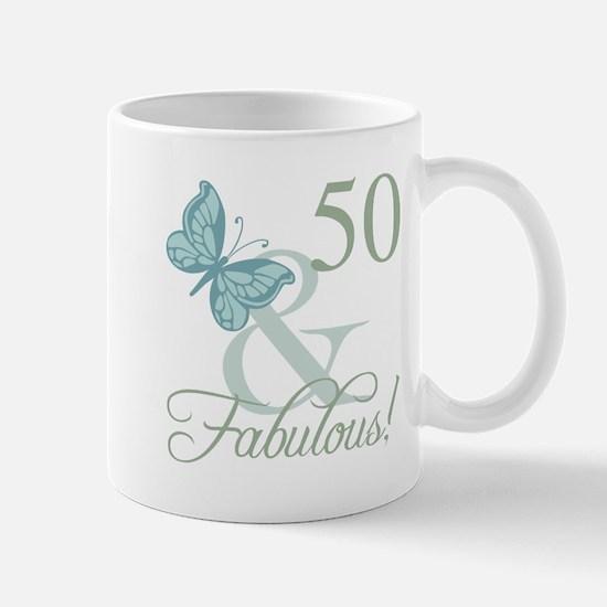 50th Birthday Butterfly Mugs