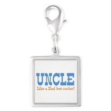 Uncle Like a Dad but Cooler Silver Square Charm