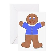 Gingerbread Boy Blue Greeting Cards (Pk of 10)