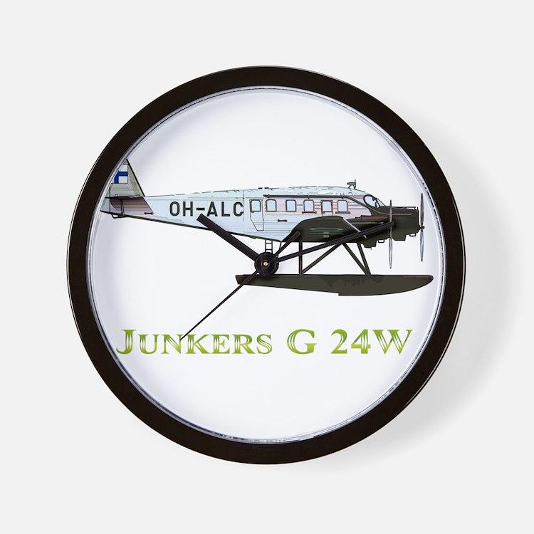 Junkers G 24W 2 w text Wall Clock