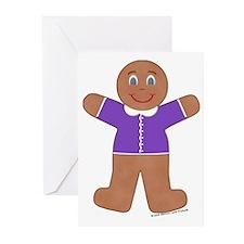 Gingerbread Boy Purple Cards (Pk of 10)