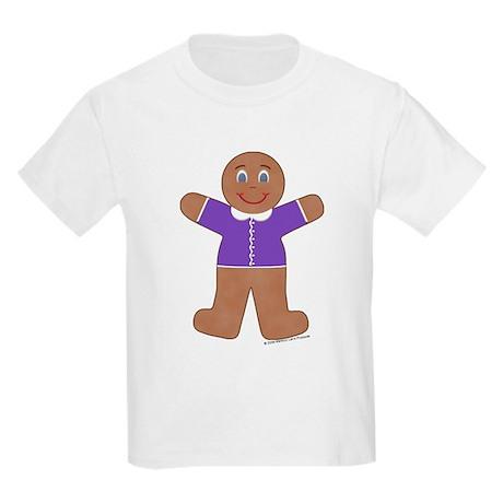 Gingerbread Boy Purple Kids T-Shirt