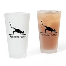 T-Rex Hates Pushups Drinking Glass