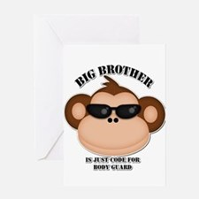 big brother body guard monkey Greeting Card
