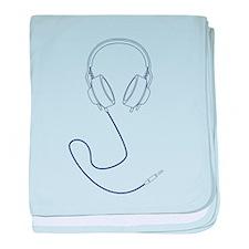 Headphones Outline in Navy Blue v1 baby blanket