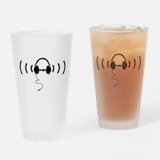 Headphones with Loud Music in Black Drinking Glass