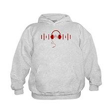 Headphones with Audio Bar Waves in Red Hoodie