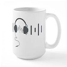 Headphones with Audio Bar Waves in Grey Mug