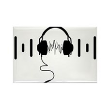 Headphones with Audio Bar Waves in Black Rectangle