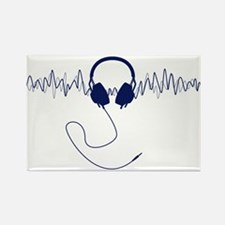 Headphones with Soundwaves Visual in Navy Blue Rec