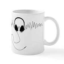 Headphones with Soundwaves Visual in Black Mug