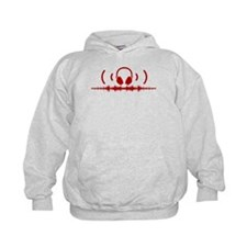 Headphones with Soundwaves and Audio in Red Hoodie