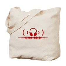 Headphones with Soundwaves and Audio in Red Tote B