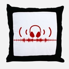 Headphones with Soundwaves and Audio in Red Throw