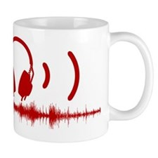 Headphones with Soundwaves and Audio in Red Mug