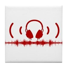 Headphones with Soundwaves and Audio in Red Tile C