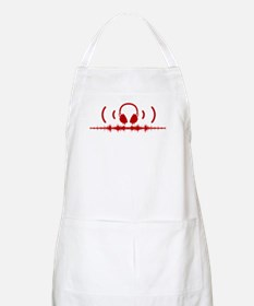 Headphones with Soundwaves and Audio in Red Apron