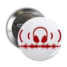 """Headphones with Soundwaves and Audio in Red 2.25"""""""