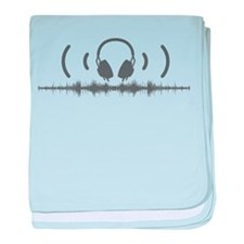 Headphones with Soundwaves and Audio in Grey baby