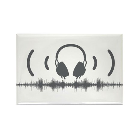 Headphones with Soundwaves and Audio in Grey Recta