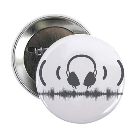 """Headphones with Soundwaves and Audio in Grey 2.25"""""""