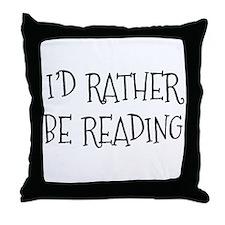 Rather Be Reading Playful Throw Pillow