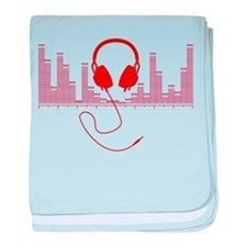 Headphones with Audio Bar Graph in Red baby blanke