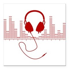 Headphones with Audio Bar Graph in Red Square Car