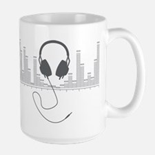 Headphones with Audio Bar Graph in Grey Mug
