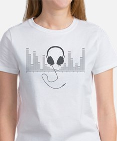 Headphones with Audio Bar Graph in Grey T-Shirt