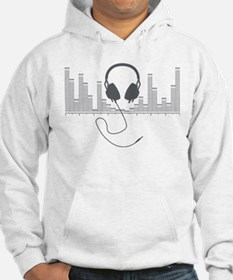 Headphones with Audio Bar Graph in Grey Hoodie