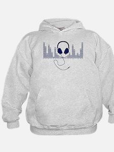Headphones with Audio Bar Graph in Navy Blue Hoodi