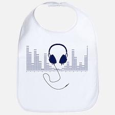 Headphones with Audio Bar Graph in Navy Blue Bib