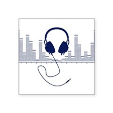 Headphones with Audio Bar Graph in Navy Blue Stick