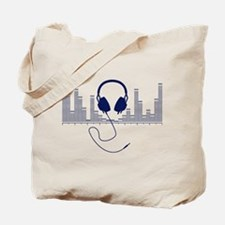 Headphones with Audio Bar Graph in Navy Blue Tote