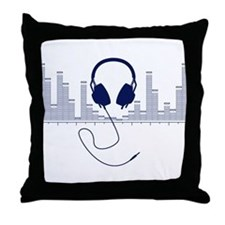Headphones with Audio Bar Graph in Navy Blue Throw