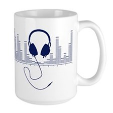 Headphones with Audio Bar Graph in Navy Blue Mug