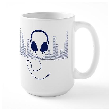 Headphones with Audio Bar Graph in Navy Blue Mug