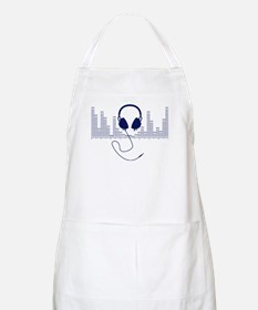 Headphones with Audio Bar Graph in Navy Blue Apron