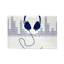 Headphones with Audio Bar Graph in Navy Blue Recta