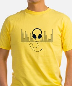 Headphones with Audio Bar Graph in Navy Blue T-Shi