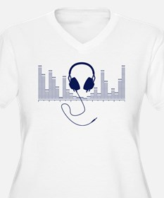 Headphones with Audio Bar Graph in Navy Blue Plus