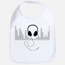 Headphones with Audio Bar Graph in Black Bib