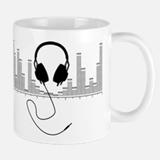 Headphones with Audio Bar Graph in Black Small Mugs