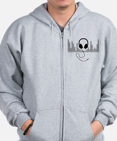 Headphones with Audio Bar Graph in Black Zip Hoodie
