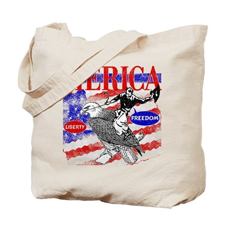Merica Eagle and Cowboy Tote Bag