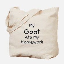My Goat ate Homework Tote Bag