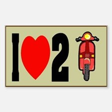 I Heart 2 Scoot Rectangle Decal